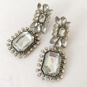 Antique style earrings silver and clear gems